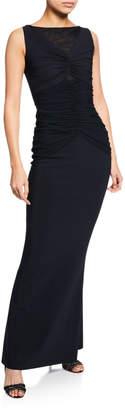 Chiara Boni Saoirse Illusion Bateau-Neck Sleeveless Column Gown