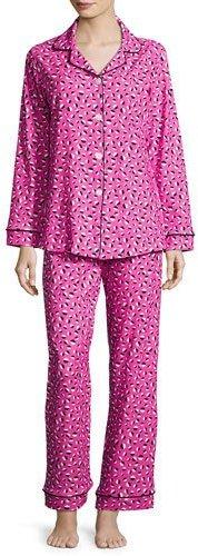 BedHeadBedhead Demi-Ball Dotted Classic Pajama Set, Fuchsia/Black, Plus Size