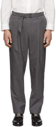 Issey Miyake Grey Wool Poplin Belted Trousers