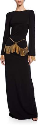 Burberry Chain-Trim Long-Sleeve Slim Dress