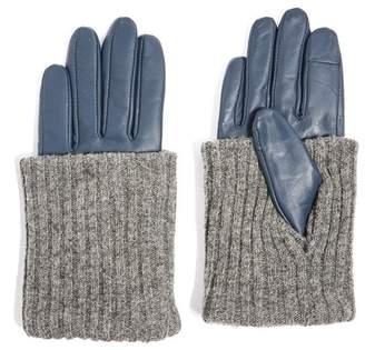 Topshop Wool-Blend Cuff Genuine Leather Gloves