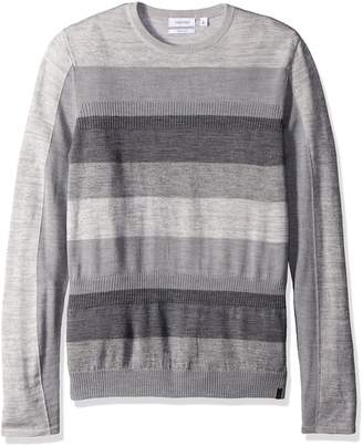 Calvin Klein Sportswear Men's Merino Acrylic Striped and Rib Crew Neck Sweater