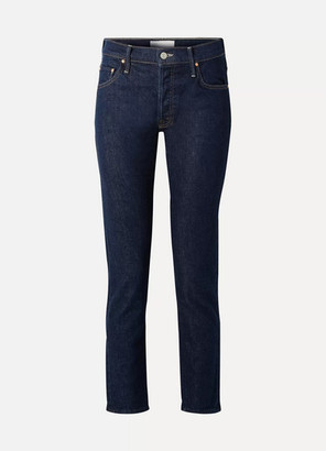 Mother The Stinger Flood High-rise Slim-leg Jeans - Dark denim