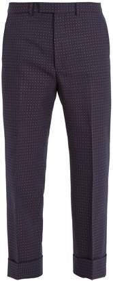Gucci Polka-dot jacquard cotton-blend trousers