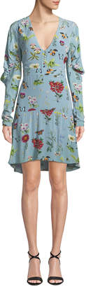 Joie Tamarice Floral Long-Sleeve Short Dress