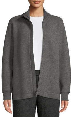 Eileen Fisher Boiled Wool High-Collar Zip-Front Jacket