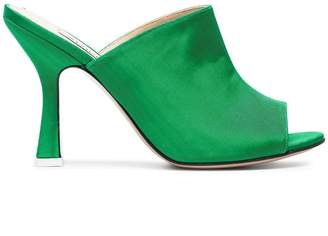ATTICO green Pamela 100 satin mules