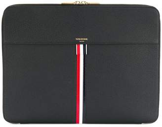 Thom Browne Zip Around Soft Document Wallet In Tumbled Calf Leather