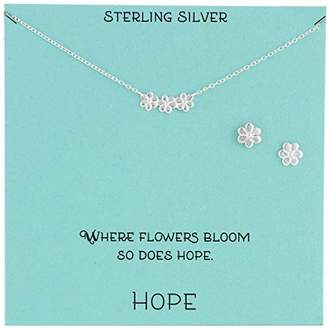 Sterling Flower Necklace and Earrings Jewelry Set