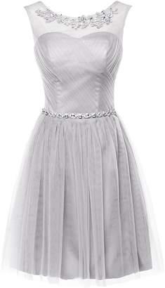 DressyMe Junior Bridesmaid Dresses Short A-Line Beades Tulle Homecoming Dress