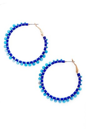 Women's Rebecca Minkoff Thread Beaded Hoop Earrings $48 thestylecure.com