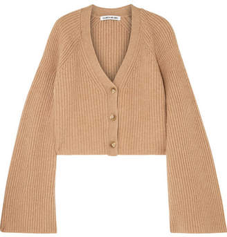 Cabot Cropped Ribbed Merino Wool And Cashmere-blend Cardigan - Camel