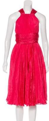 Oscar de la Renta Pleated Midi Dress