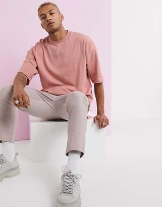 Asos Design DESIGN oversized t-shirt with side split in pink