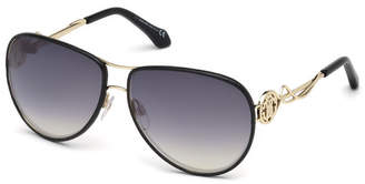 Roberto Cavalli Intertwining Gradient Aviator Sunglasses, Black