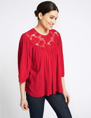 Marks and Spencer Lace Insert Round Neck 3/4 Sleeve Blouse