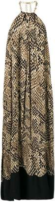 Christian Pellizzari snake pattern halterneck dress