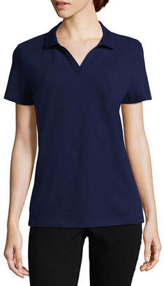 ST. JOHN'S BAY Short Sleeve Knit Polo Shirt - Petite