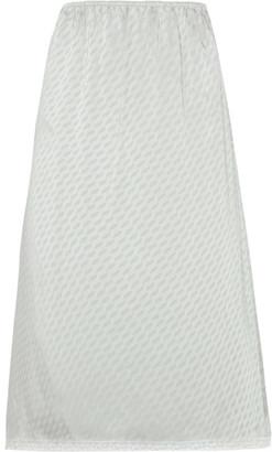 Maison Margiela - Lace-trimmed Jacquard Midi Skirt - Light gray $475 thestylecure.com