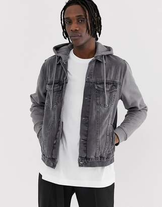 New Look denim jacket with jersey sleeves in grey wash
