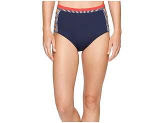 Tommy Hilfiger Strappy Stripes Strappy High Waist Bikini Bottom Women's Swimwear