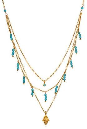 Satya Jewelry Turquoise Gold Plate Hamsa Triple Chain Pendant Necklace
