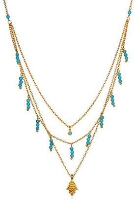 Satya Jewelry Turquoise Gold Plate Hamsa Triple Chain Pendant Necklace