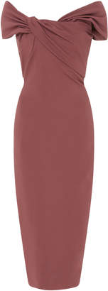 Cushnie Off-The-Shoulder Stretch-Crepe Midi Dress