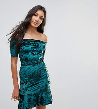 Oh My Love Tall Velvet Off Shoulder Pephem Dress