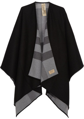 Burberry - London Reversible Checked Merino Wool Wrap - Charcoal $950 thestylecure.com