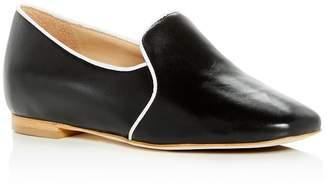 Joan Oloff Women's Luna Leather Hidden Demi-Wedge Smoking Slippers
