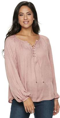 c7b6d244c43355 JLO by Jennifer Lopez Women s Lace-Up Satin Peasant Top
