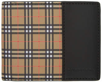 Burberry Beige and Black Vintage Check Bifold Wallet