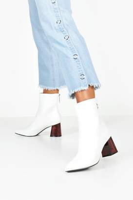 boohoo Tort Heel Pointed Toe Shoe Boots