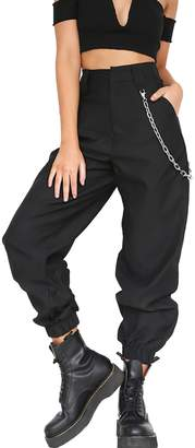 Vepodrau Womens Elastic Leg Opening Solid Wide Harem Pants with Chain L