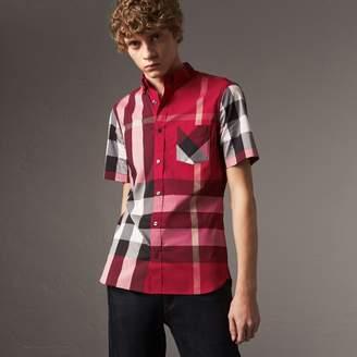at Burberry Burberry Short-sleeve Check Stretch Cotton Blend Shirt c80708e422