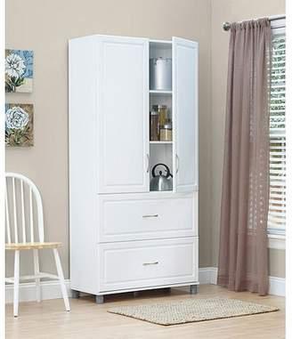 "Ameriwood SystemBuild 36"" 2 Door/2 Drawer Storage Cabinet, White Stipple"