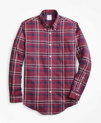 Brooks Brothers Non-Iron Regent Fit Burgundy-Navy Plaid Sport Shirt