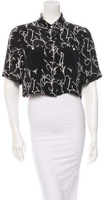 Tanya Taylor Cropped Button-Up Top w/ Tags