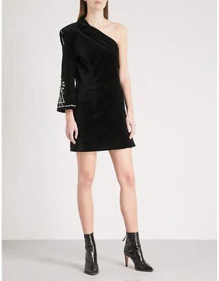 Mo&Co. One-shoulder embellished velvet dress