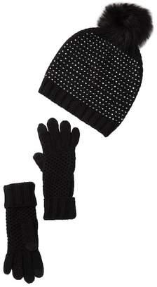 Steve Madden Faux Fur Pompom Studded Knit Hat & Gloves Set