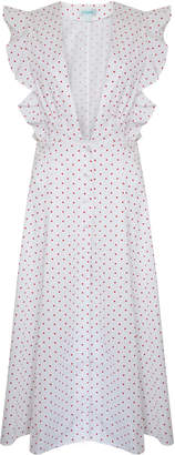 Jovonna London White Besa Polka Dotted Frilly Cotton Dress - UK8 - White