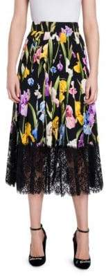Dolce & Gabbana Lace Hem Floral Midi Skirt