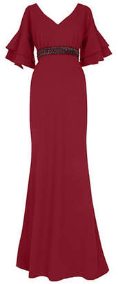 Adrianna Papell Wine Bell-Sleeve Column Gown