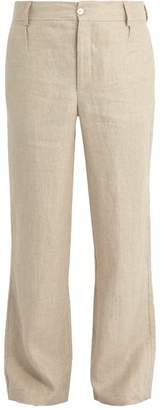 Hecho - Mid Rise Straight Leg Linen Trousers - Mens - Beige