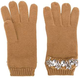Twin-Set crystal embellished gloves