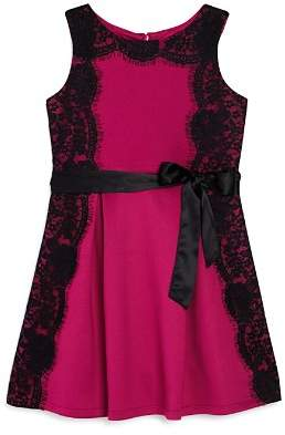 Us Angels Little Angels by Girls' Lace Overlay Crepe Dress - Little Kid