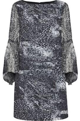 Elie Tahari Esmarella Printed Georgette-Paneled Crepe De Chine Mini Dress