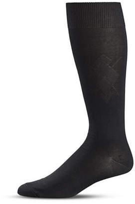 Black Brown 1826 Diamond Knit Crew Socks