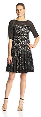 Julian Taylor Women's Short Sleeve Illusion Flounce Lace Dress, Black/Nude